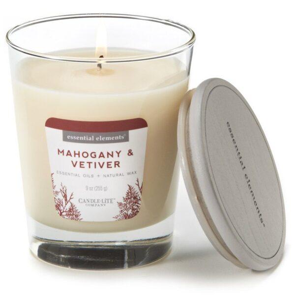 Candle-lite Essential Elements Jar Candle 9 oz świeca zapachowa sojowa w szkle z olejkami eterycznymi 255 g ~ 50 h - Mahogany & Vetiver