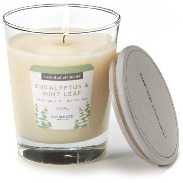 Candle-lite Essential Elements Jar Candle 9 oz świeca zapachowa sojowa w szkle z olejkami eterycznymi 255 g ~ 50 h - Eucalyptus & Mint Leaf