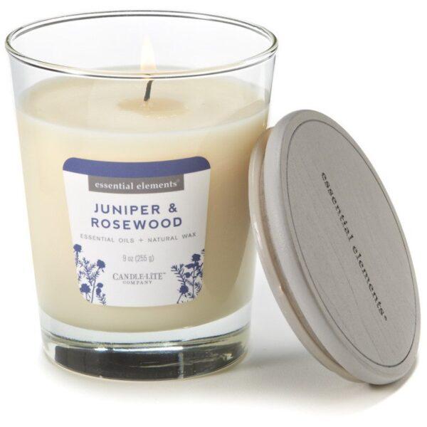 Candle-lite Essential Elements Jar Candle 9 oz świeca zapachowa sojowa w szkle z olejkami eterycznymi 255 g ~ 50 h - Juniper & Rosewood