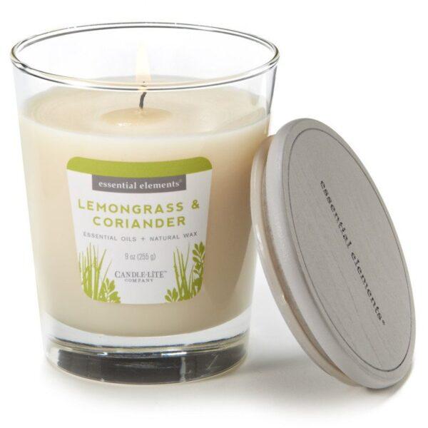Candle-lite Essential Elements Jar Candle 9 oz świeca zapachowa sojowa w szkle z olejkami eterycznymi 255 g ~ 50 h - Lemongrass & Coriander