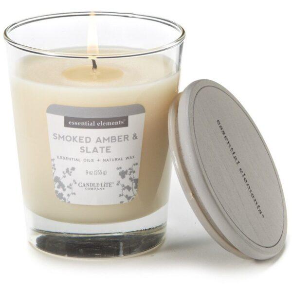 Candle-lite Essential Elements Jar Candle 9 oz świeca zapachowa sojowa w szkle z olejkami eterycznymi 255 g ~ 50 h - Smoked Amber & Slate