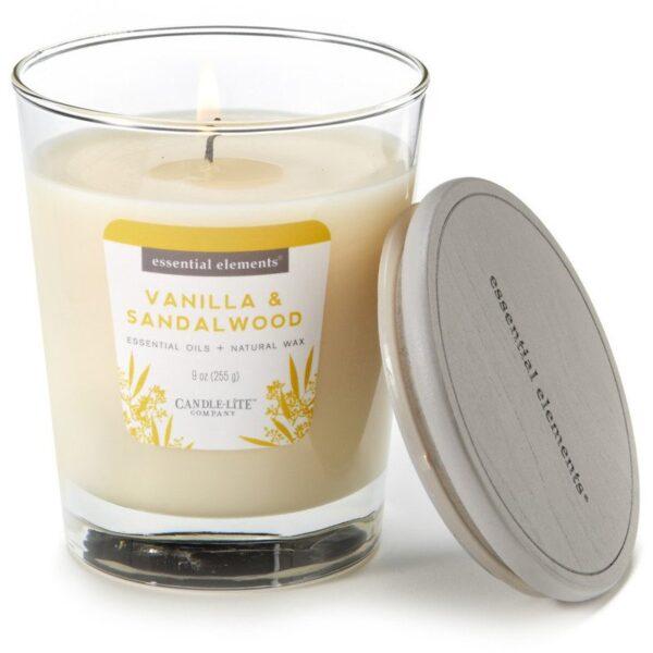 Candle-lite Essential Elements Jar Candle 9 oz świeca zapachowa sojowa w szkle z olejkami eterycznymi 255 g ~ 50 h - Vanilla & Sandalwoo
