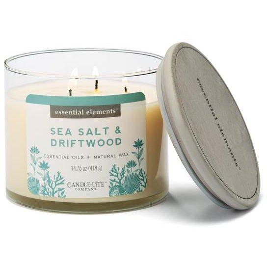 andle-lite Essential Elements świeca zapachowa sojowa w szkle z olejkami eterycznymi 3 knoty 418 g - Sea Salt & Driftwood