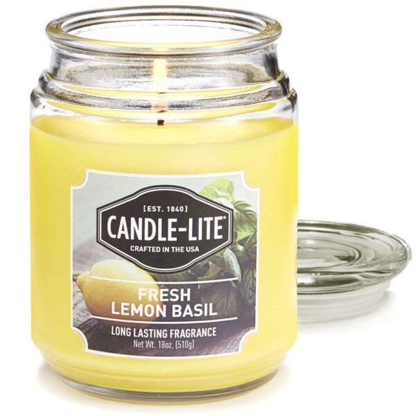Candle-lite Everyday Collection Terrace Jar Glass Candle 18 oz duża świeca zapachowa w szklanym słoju 145/100 mm 510 g ~ 110 h - Fresh Lemon Basil