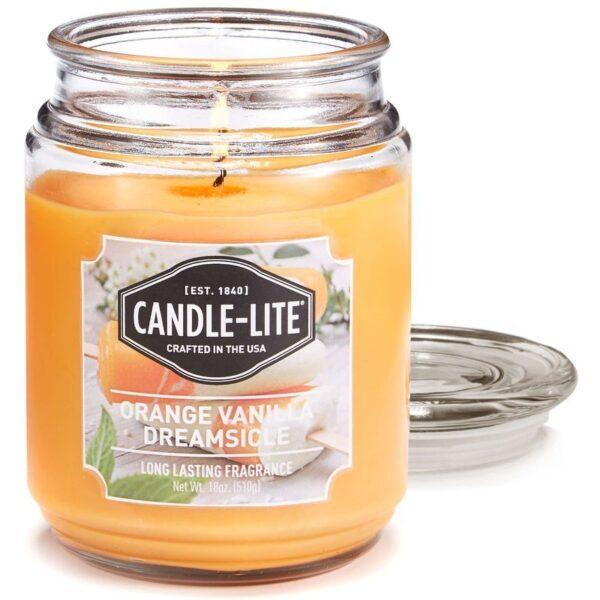 Candle-lite Everyday duża świeca zapachowa w szklanym słoju 145/100 mm 510 g ~ 110 h – Orange Vanilla Dreamsicle