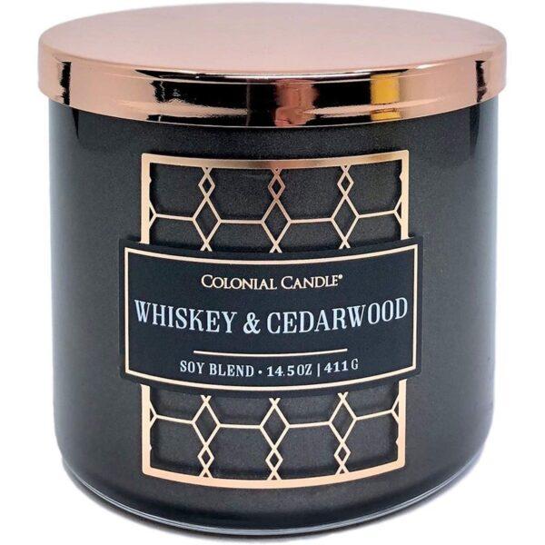 Colonial Candle Luxe sojowa świeca zapachowa w szkle 3 knoty 14.5 oz 411 g - Whiskey & Cedarwood