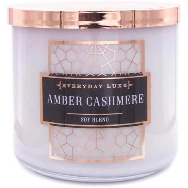 Colonial Candle Luxe sojowa świeca zapachowa w szkle drewniany knot 14.5 oz 411 g - Amber Cashmere