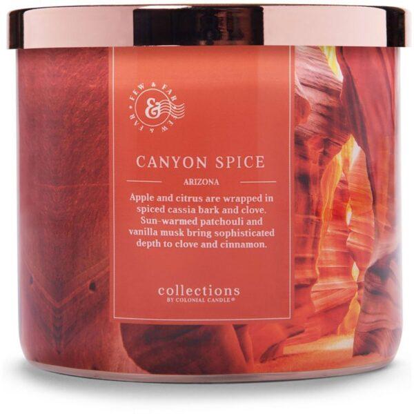 Colonial Candle Travel sojowa świeca zapachowa w szkle 3 knoty 14.5 oz 411 g - Canyon Spice