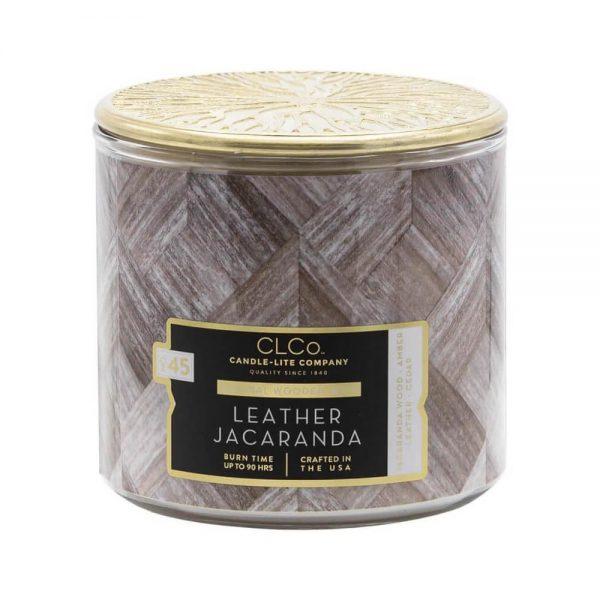 Candle-lite CLCo Candle Wooden Wick 14 oz luksusowa świeca zapachowa z drewnianym knotem ~ 90 h - No. 45 Leather Jacaranda