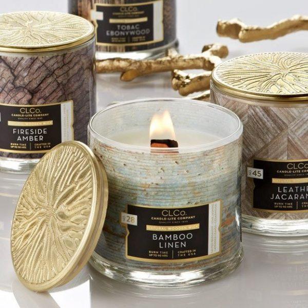 Candle-lite CLCo Candle Wooden Wick 14 oz luksusowa świeca zapachowa z drewnianym knotem ~ 90 h - No. 54 Wine Cellar