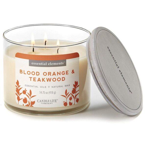 Candle-lite Essential Elements 3-Wick Glass Candle Jar 14,75 oz świeca zapachowa sojowa w szkle z olejkami eterycznymi 418 g ~ 45 h - Blood Orange & Teakwood