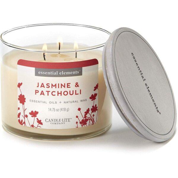 Candle-lite Essential Elements 3-Wick Glass Candle Jar 14,75 oz świeca zapachowa sojowa w szkle z olejkami eterycznymi 418 g ~ 45 h - Jasmine & Patchouli