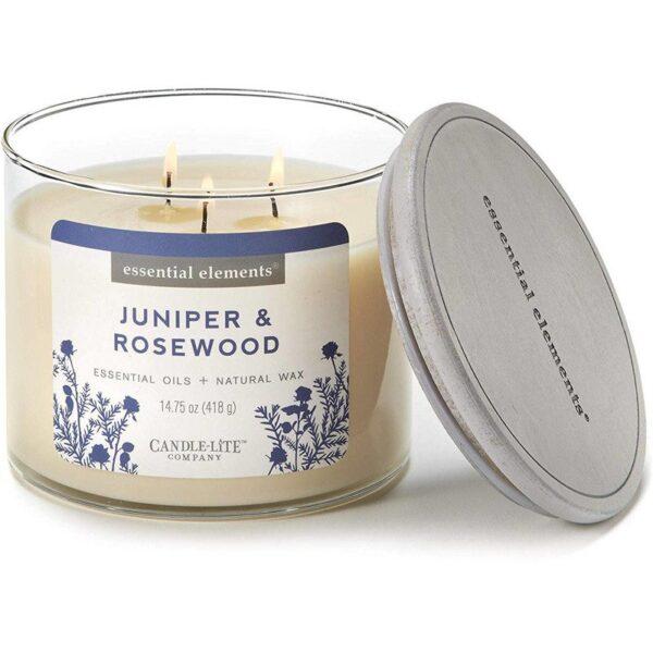 Candle-lite Essential Elements 3-Wick Glass Candle Jar 14,75 oz świeca zapachowa sojowa w szkle z olejkami eterycznymi 418 g ~ 45 h - Juniper & Rosewood