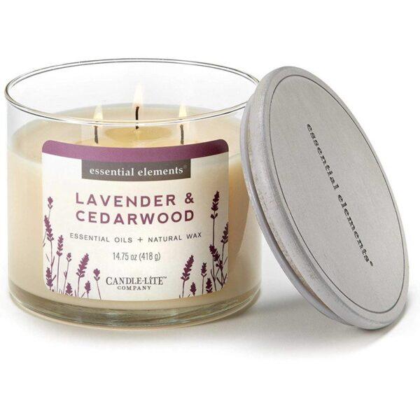 Candle-lite Essential Elements 3-Wick Glass Candle Jar 14,75 oz świeca zapachowa sojowa w szkle z olejkami eterycznymi 418 g ~ 45 h - Lavender & Cedarwood