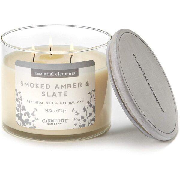 Candle-lite Essential Elements 3-Wick Glass Candle Jar 14,75 oz świeca zapachowa sojowa w szkle z olejkami eterycznymi 418 g ~ 45 h - Smoked Amber & Slate